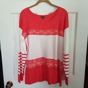 Hannah coral and cream scoop neck sweater